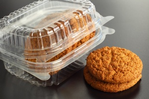 Transparent Container with Oatmeal Cookies