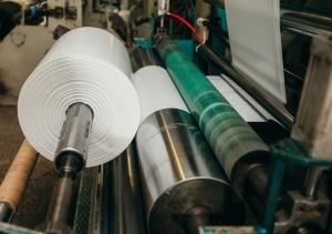 Flexo press for printing label. white