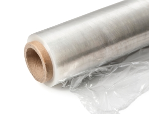 Roll of wrapping plastic stretch film.